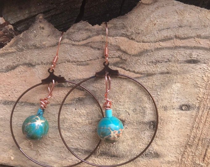 Copper hoop earrings / turquoise stone earrings / dangle hoop earrings / geometric minimalist statement earrings
