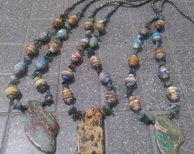 Earthy stone necklace- mossy greens/ blues/ paperbead necklace/ pendant necklace