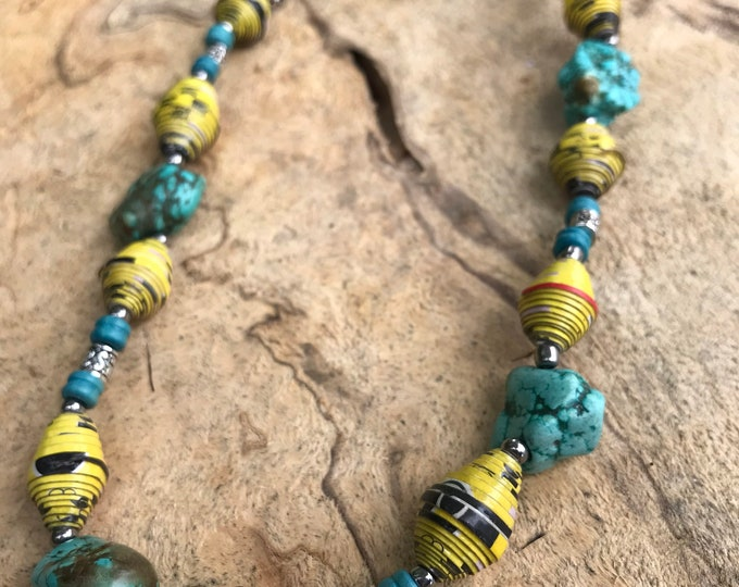 turquoise necklace / Boho/ western turquoise and paperbead necklace/ silver/ yellow bead necklace