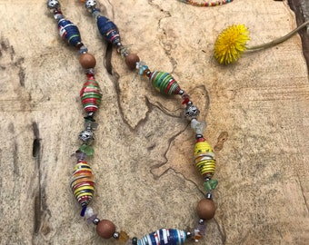 Long multi colored boho paperbead necklace/ handmade beaded necklace/ ecofriendly necklace/ bohemian western beaded necklace