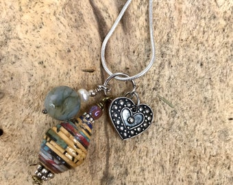Sterling Silver charm cluster necklace/ pendant necklace/paperbead/ sterling silver/ stone/ bone/ heart