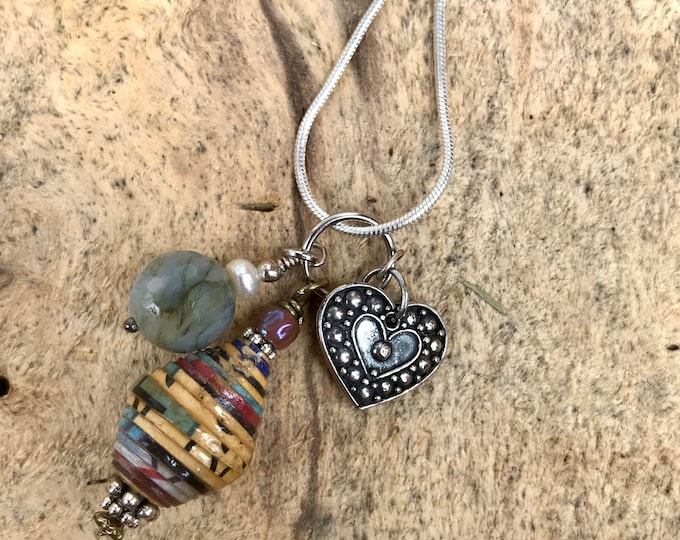 Sterling Silver charm cluster necklace/ paperbead/ sterling silver/ stone/ bone/ heart