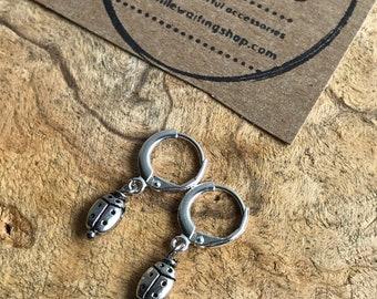 Small ladybug hoop earrings / silver hoop earrings / silver ladybug earrings