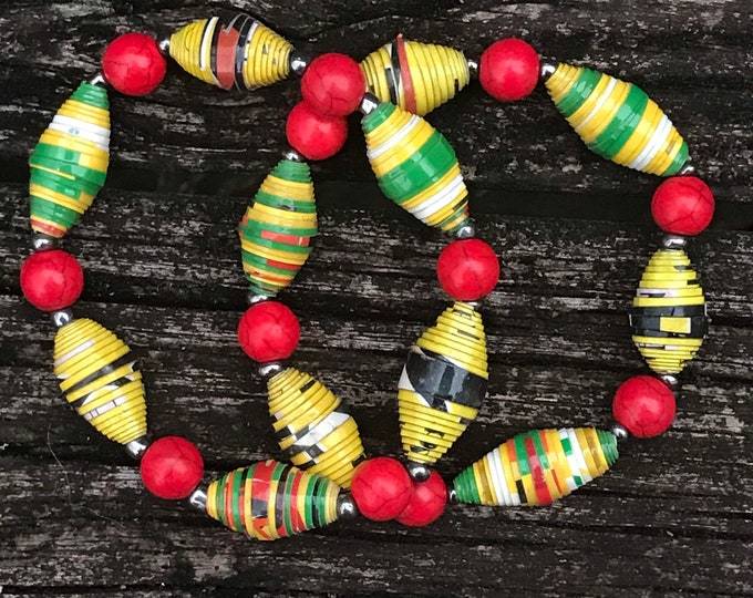 Boho stretch bracelet- multicolored/ recycled/ Haitian paperbeads / red/green/yellow/black