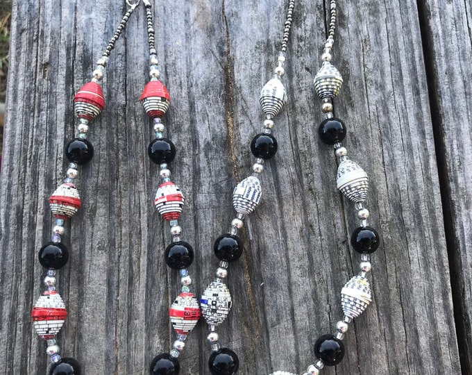 Silver and black paperbead necklace /classic black & white  necklace / paper bead necklace / black and red necklace