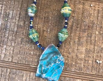 Kelly green/ navy blue Rock statement necklace- paperbead necklace / pendant statement necklace