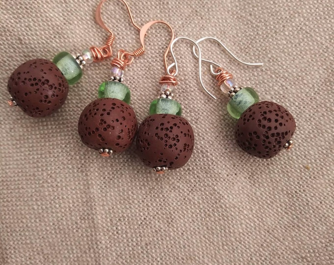 Chartreuse earrings/ brown lava stone earrings/ diffuser earrings/ copper & silver earrings/ brown diffuser earrings/ copper earrings