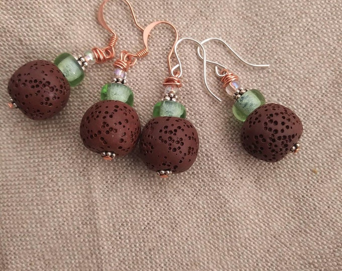 Diffuser earrings/ brown lava stone earrings/ green diffuser earrings/ copper & silver earrings/ brown diffuser earrings/ copper earrings