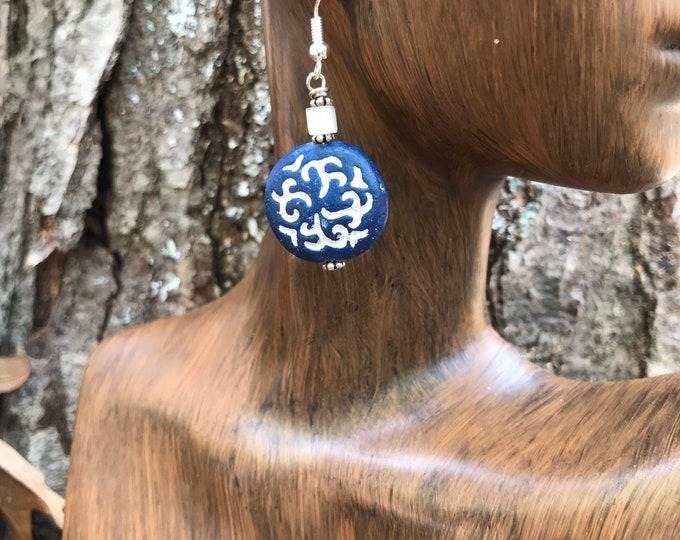 Blue and white ceramic earrings/ round navy blue earrings