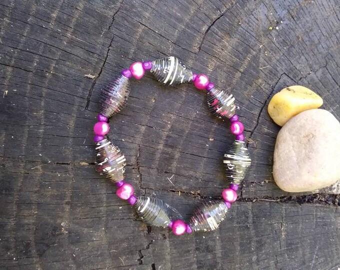Paperbead Bracelet- Pearl & Haitian paperbead pink/ purple/ black/ pearl bracelet