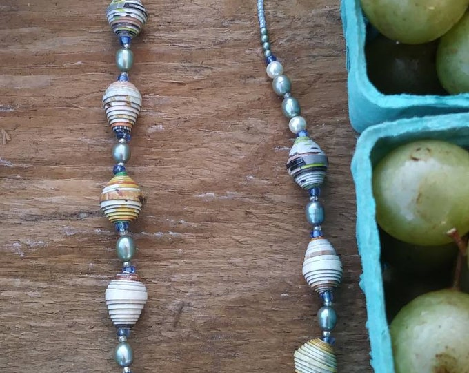 Pale blue pearl and paper beaded necklace- haitian paper and glass/ baby blue tone- natural accessories