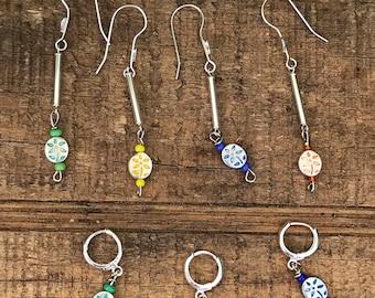 Mom & Me earrings / floral matching earrings / silver earrings/ mother daughter earrings / best friend earrings
