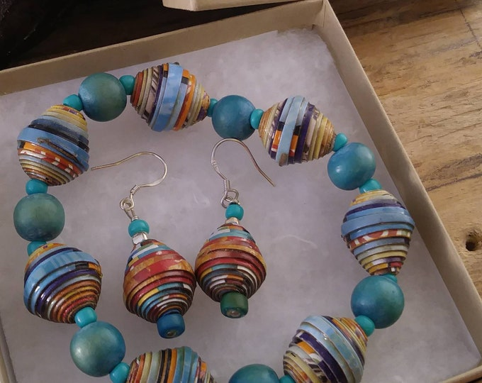 Bracelet and earrings set/ paperbeads & sterling silver / turquoise wood/ multicolored