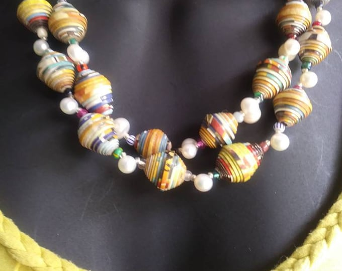 Pearl necklace -Multi strand statement necklace/ pearls/ paperbeads