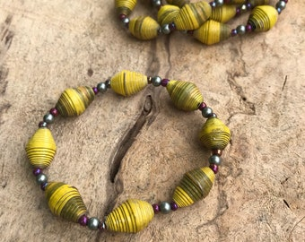 Bracelet- Pearl & Haitian paperbead / sage green and mustard yellow paper bead stretch bracelets