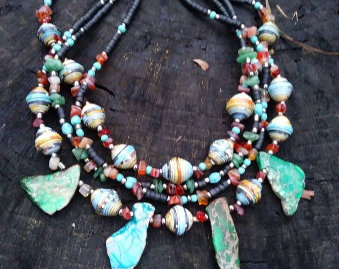 Turquoise statement necklace tribal/ Haitian Paper Bead/ red and black