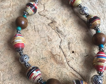 Boho/ western beaded necklace / wood, silver and paperbead necklace / Eco friendly necklace / handmade necklace /