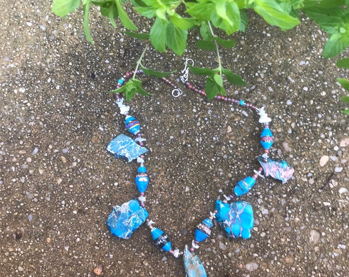 turquoise Rock statement necklace- paperbead necklace / boho blue necklace