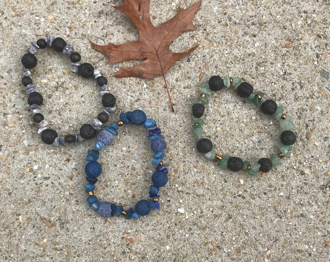 Diffuser bracelet- blue / green/ black/ lava/ glass/ wood/stone beachy/ Unisex Diffuser Bracelets / Essential Oils Jewelry