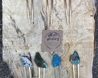 Turquoise Stone hair fork/ green purple fork / druzy hair fork/ red orange hair accessory / raw stone hair fork/ boho hair pin/ hair stick