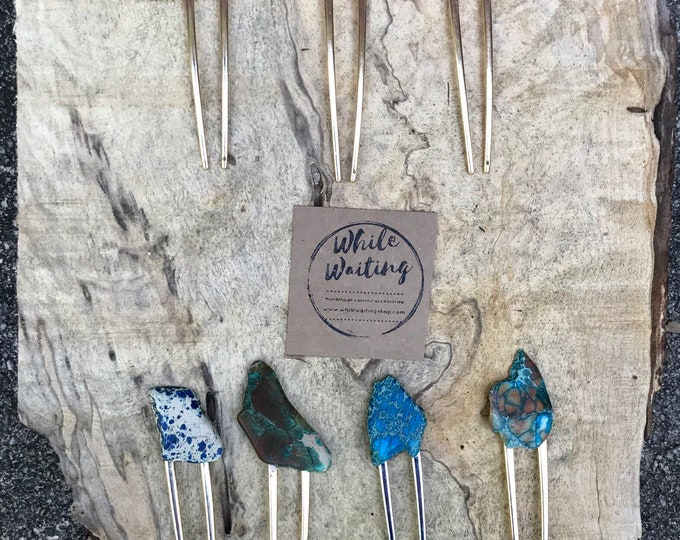 Turquoise Stone hair fork/ green purple fork / druzy hair fork/ red orange hair accessory / raw stone hair fork/ boho hair pin/ hair stick