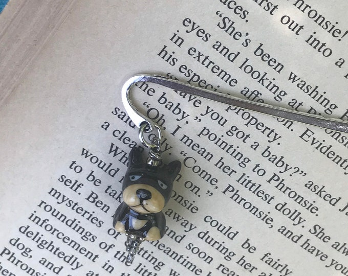 Brown dog charm bookmark/ brown bear charm bookmark / animal gifts for readers