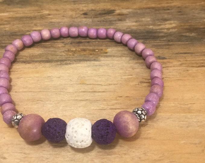 Valentines bracelet / diffuser bracelet / essential oils /purple bracelet / lava stone