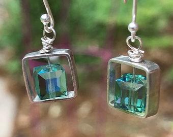 Square green erinite iridescent earrings/ small sterling silver earrings/ Czech glass bead/ minimalistic earrings
