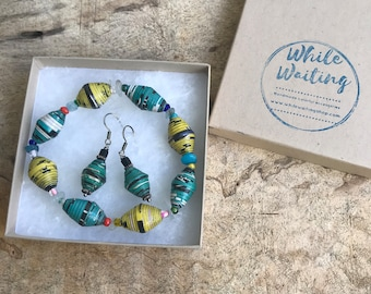 Green / yellow paper bead bracelet and earrings set/ handmade bracelet set/ eco- friendly gift set