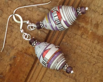 Paperbead earrings/ purple/ silver earrings / black & white earrings /eco-friendly earrings