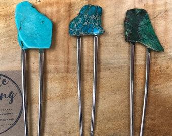 Blue GREEN Stone hair fork/ turquoise hair pin / druzy hair fork/ hair accessory / raw stone hair fork/ boho hair clip/ hair fork