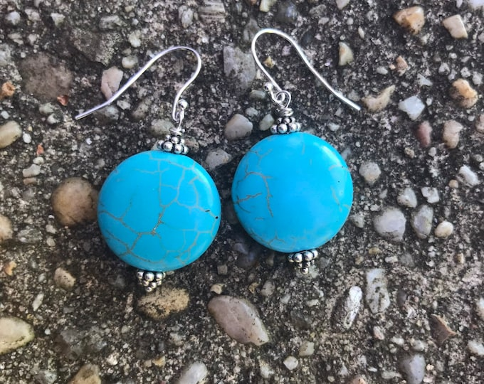Turquoise stone earrings/ sterling silver/ silver earrings