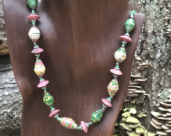 Kelly green/ pink Rock statement necklace- paperbead necklace / pendant statement necklace