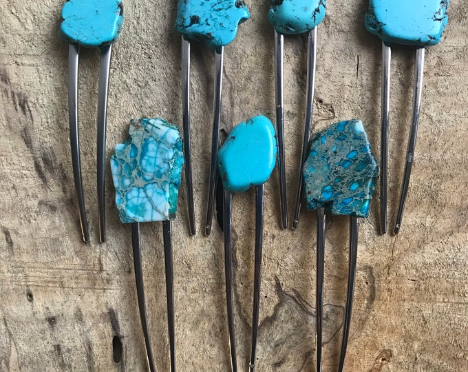 Turquoise Stone hair fork/ natural tone hair fork / druzy hair fork/ hair accessory / raw stone hair fork/ boho hair pin/ hair stick