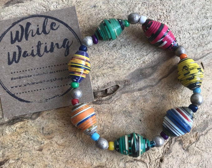 Paper bead Bracelet- vintage silver & Haitian paperbead ecofriendly/ multicolored / stretch bracelet