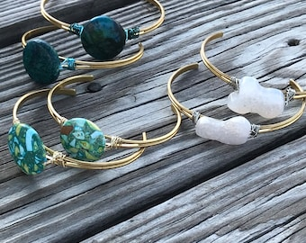 Boho brass cuff bracelet/ turquoise/ druzy quartz stone / adjustable bangle