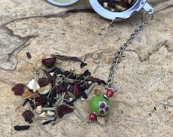 Fun Floral Tea infuser/ green hand painted flowers tea infuser/ pretty tea strainer / loose leaf tea strainer/ loose leaf tea infuser