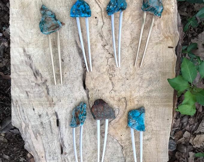 Turquoise Stone hair fork/ blue green hair fork / druzy hair fork/ turquoise hair accessory / raw stone hair fork/ boho hair pin/ hair stick