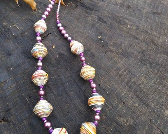 necklace Paper and purple pearl beaded necklace- haitian paper and glass- natural accessories