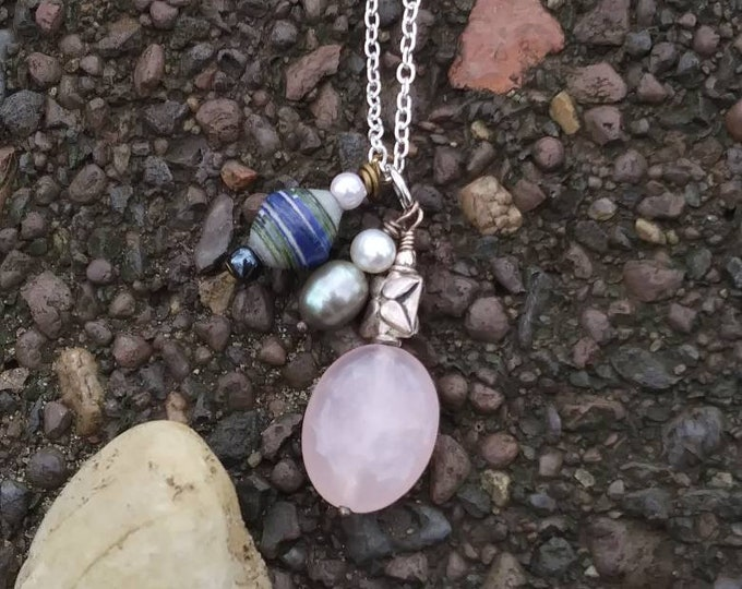 Pearl charm cluster necklace/ paperbead/ sterling silver/ blush glass/