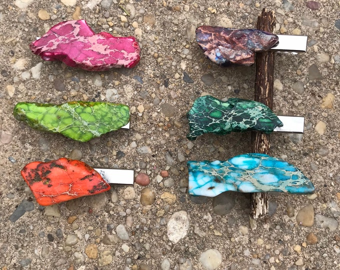 Stone hair clip/ turquoise hair clip/ druzy hair clip/ hair accessory / raw stone hair clip/ boho hair clip