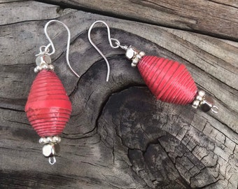 Red and silver paper bead earrings, handmade red Earrings, sterling silver and paper, eco-friendly earrings