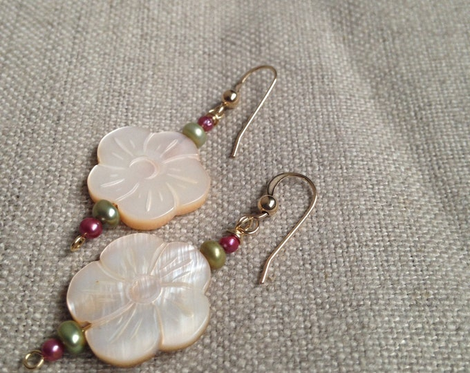 Blush Floral earrings / Cherry blossom earrings / mother of pearl earrings / flower earrings / pink pearl earrings / artisan earrings