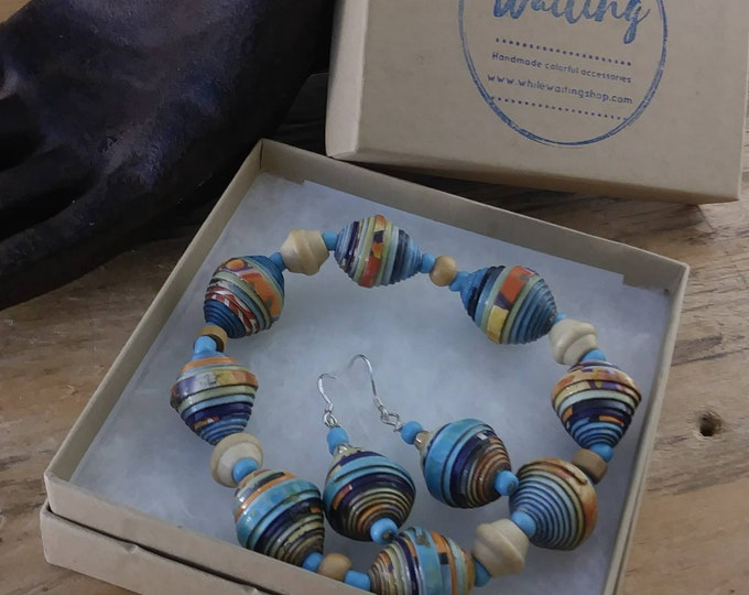 Maroon or light blue paperbead bracelet and earrings set/ sterling silver / natural recycled wood