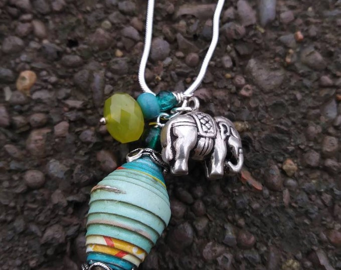 Silver charm cluster necklace/ paperbead/ sterling silver/ stone/ elephant/ turquoise