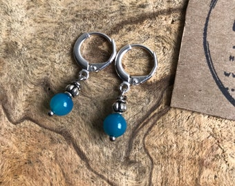 Small turquoise glass hoop earrings / silver hoop earrings / blue glass earrings