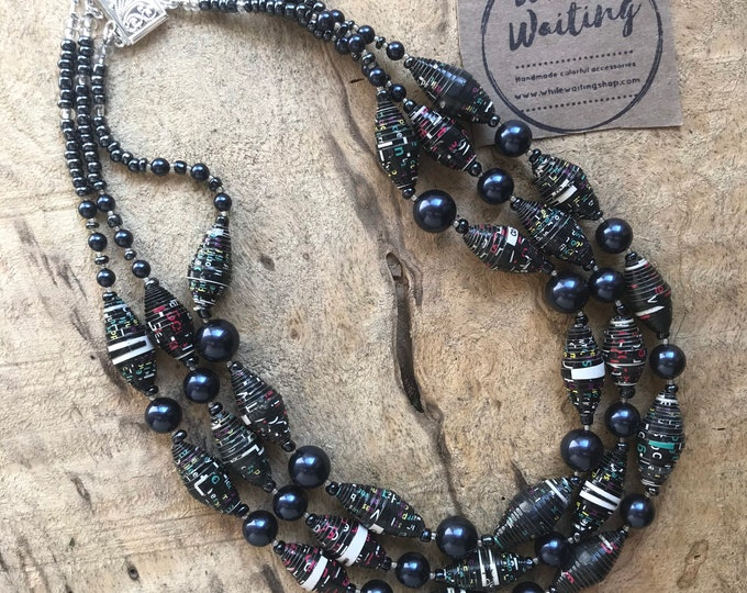 Paper and pearl multi strand necklace/ black navy blue/ silver tone Pearl statement necklace/ ecofriendly statement beaded necklace