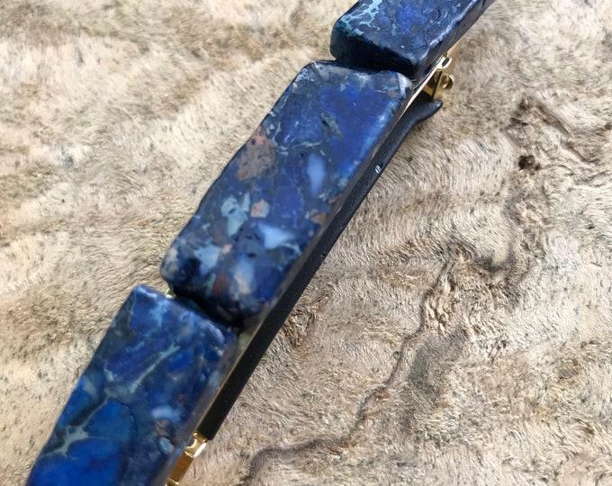 Navy blue stone hair clip/ lapis lazuli hair barrette / druzy hair clip/ hair accessory raw stone hair clip/ boho hair clip/ hair barrette