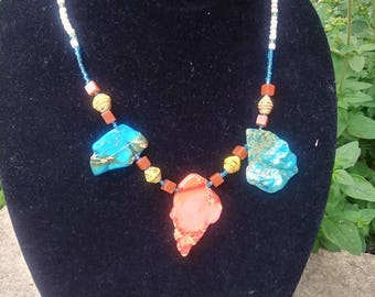 Turquoise Rock and paper statement necklace- sand and water / bohemian statement necklace
