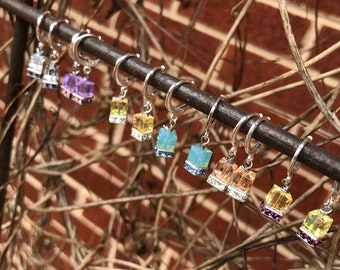 Square pastel hoop iridescent earrings/ small sterling silver earrings/ Czech glass bead/ minimalistic earrings